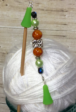Owl Beaded Point Protector- Orange Stitch Holder , stitch holder - Jill's Beaded Knit Bits, Jill's Beaded Knit Bits  - 5