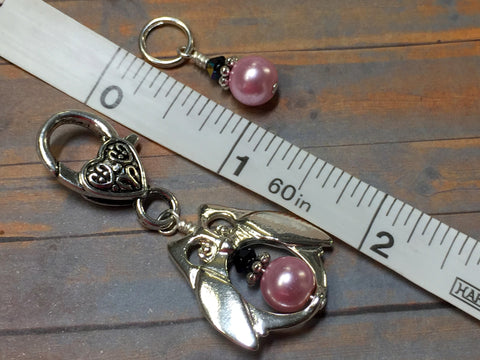 Owl Stitch Marker Holder Set in Pink Pearl , Stitch Markers - Jill's Beaded Knit Bits, Jill's Beaded Knit Bits  - 4
