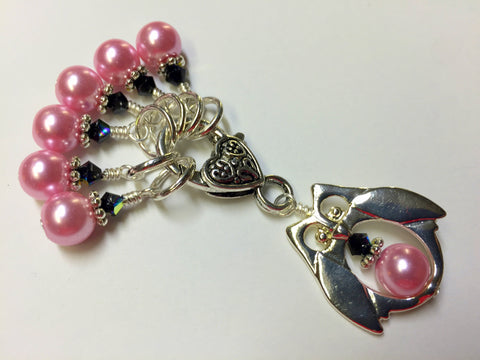 Owl Stitch Marker Holder Set in Pink Pearl , Stitch Markers - Jill's Beaded Knit Bits, Jill's Beaded Knit Bits  - 1