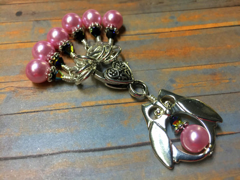 Owl Stitch Marker Holder Set in Pink Pearl , Stitch Markers - Jill's Beaded Knit Bits, Jill's Beaded Knit Bits  - 3