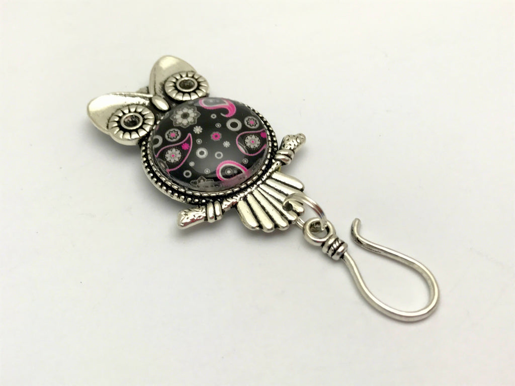 Paisley Owl MAGNETIC Knitting Pin for Portuguese Knitting