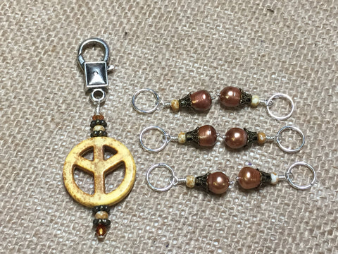 Maize Peace Sign Stitch Marker Set , Stitch Markers - Jill's Beaded Knit Bits, Jill's Beaded Knit Bits  - 1