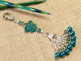 Peacock Blue Flower Knitting Bag Lanyard Accessory , Stitch Markers - Jill's Beaded Knit Bits, Jill's Beaded Knit Bits  - 1