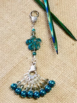 Peacock Blue Flower Knitting Bag Lanyard Accessory , Stitch Markers - Jill's Beaded Knit Bits, Jill's Beaded Knit Bits  - 2