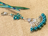 Peacock Blue Flower Knitting Bag Lanyard Accessory , Stitch Markers - Jill's Beaded Knit Bits, Jill's Beaded Knit Bits  - 4