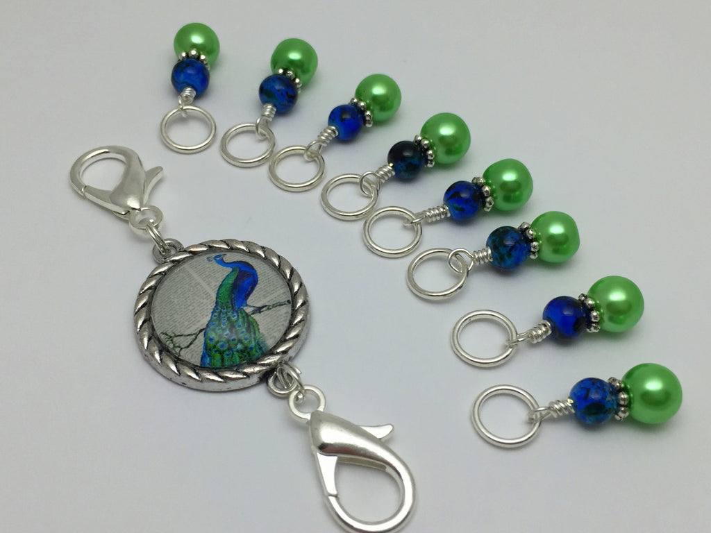 Peacock Knitting Bag Lanyard and Snag Free Stitch Markers , Stitch Markers - Jill's Beaded Knit Bits, Jill's Beaded Knit Bits  - 1