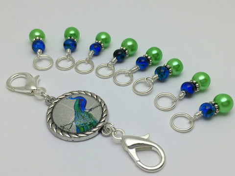 Peacock Knitting Bag Lanyard and Snag Free Stitch Markers , Stitch Markers - Jill's Beaded Knit Bits, Jill's Beaded Knit Bits  - 4