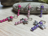 Pearl Dragonfly Stitch Markers , Stitch Markers - Jill's Beaded Knit Bits, Jill's Beaded Knit Bits  - 2