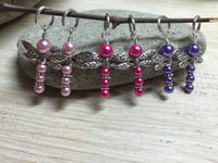Pearl Dragonfly Stitch Markers , Stitch Markers - Jill's Beaded Knit Bits, Jill's Beaded Knit Bits  - 1