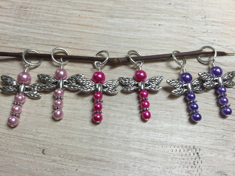 Pearl Dragonfly Stitch Markers , Stitch Markers - Jill's Beaded Knit Bits, Jill's Beaded Knit Bits  - 5