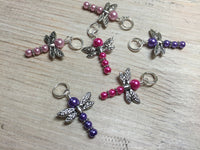 Pearl Dragonfly Stitch Markers , Stitch Markers - Jill's Beaded Knit Bits, Jill's Beaded Knit Bits  - 7