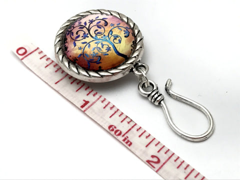 Periwinkle Tree of Life Magnetic Knitting Pin for Portuguese Knitting