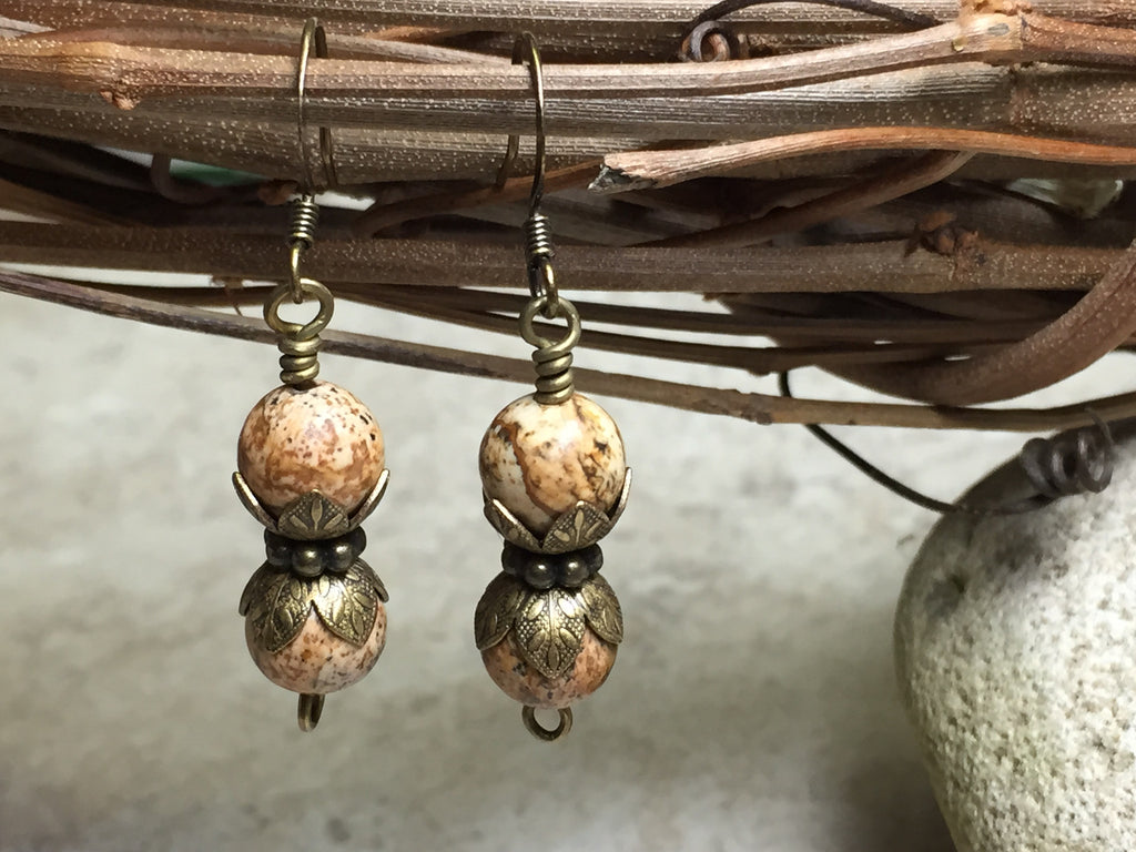 Picture Jasper Stone Earrings , jewelry - Jill's Beaded Knit Bits, Jill's Beaded Knit Bits  - 1