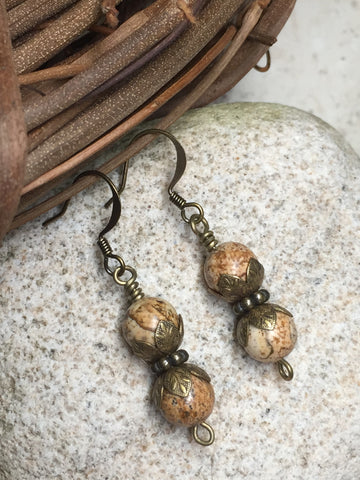 Picture Jasper Stone Earrings , jewelry - Jill's Beaded Knit Bits, Jill's Beaded Knit Bits  - 5