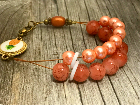 Pineapple Peach Abacus Knitting Row Counter Bracelet