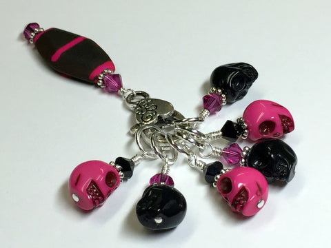 Skull Stitch Marker Set with Holder