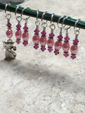 Pink Cat Stitch Marker Set , Stitch Markers - Jill's Beaded Knit Bits, Jill's Beaded Knit Bits  - 5