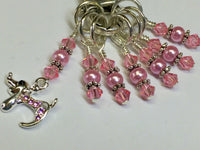 Pink Jeweled Dog Stitch Marker Set And Holder , Stitch Markers - Jill's Beaded Knit Bits, Jill's Beaded Knit Bits  - 4
