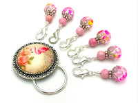 Magnetic Pink Flamingo Brooch Holder and Removable Stitch Markers