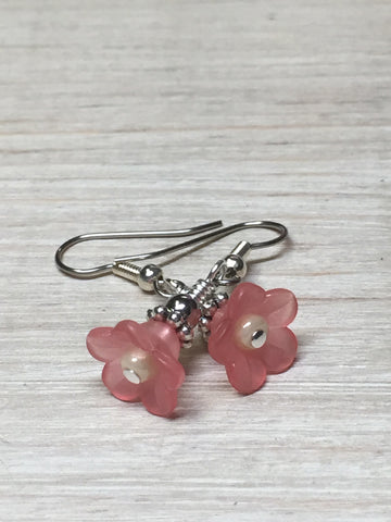 Pink Flower Dangle Earrings , Jewelry - Jill's Beaded Knit Bits, Jill's Beaded Knit Bits  - 2