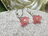 Pink Flower Dangle Earrings , Jewelry - Jill's Beaded Knit Bits, Jill's Beaded Knit Bits  - 6