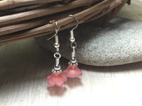 Pink Flower Dangle Earrings , Jewelry - Jill's Beaded Knit Bits, Jill's Beaded Knit Bits  - 8