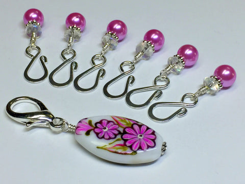 Pink Flower Stitch Marker Holder & Open Hook Removable Stitch Markers for Knit & Crochet , Stitch Markers - Jill's Beaded Knit Bits, Jill's Beaded Knit Bits  - 1