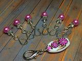 Pink Flower Stitch Marker Holder & Open Hook Removable Stitch Markers for Knit & Crochet , Stitch Markers - Jill's Beaded Knit Bits, Jill's Beaded Knit Bits  - 2