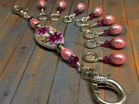 Handpainted Pink Flower Knitting Bag Lanyard , Stitch Markers - Jill's Beaded Knit Bits, Jill's Beaded Knit Bits  - 4