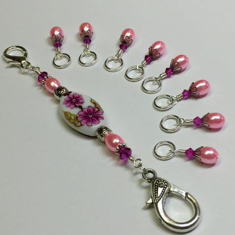 Handpainted Pink Flower Knitting Bag Lanyard , Stitch Markers - Jill's Beaded Knit Bits, Jill's Beaded Knit Bits  - 11