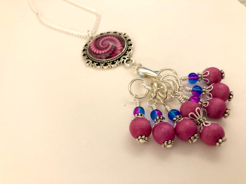 Pink Swirl Stitch Marker Necklace Holder | Adjustable Anti Tarnish Sterling Silver Filled Chain | Snag Free
