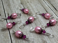 Pink Teardrop Small Needle Stitch Markers for Sock Knitters , Stitch Markers - Jill's Beaded Knit Bits, Jill's Beaded Knit Bits  - 6