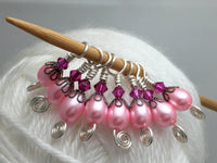 Pink Teardrop Small Needle Stitch Markers for Sock Knitters , Stitch Markers - Jill's Beaded Knit Bits, Jill's Beaded Knit Bits  - 1