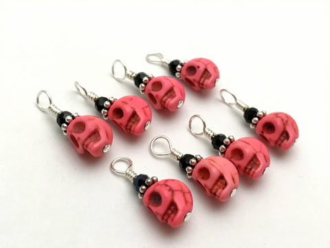 Pink Skull Stitch Markers for Small Needles