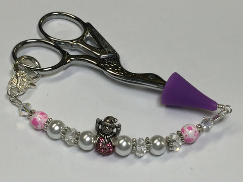 Pink Snowman Beaded Scissor Fob Charm Jewelry , accessories - Jill's Beaded Knit Bits, Jill's Beaded Knit Bits  - 7