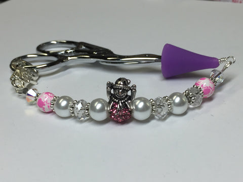 Pink Snowman Beaded Scissor Fob Charm Jewelry , accessories - Jill's Beaded Knit Bits, Jill's Beaded Knit Bits  - 2