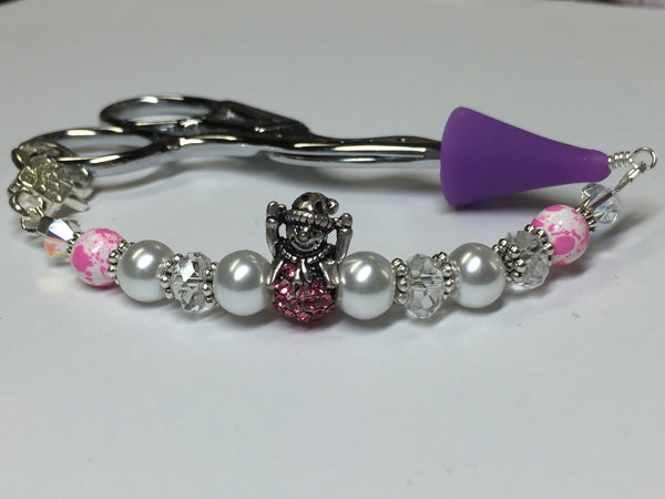 Pink Snowman Beaded Scissor Fob Charm Jewelry , accessories - Jill's Beaded Knit Bits, Jill's Beaded Knit Bits  - 1