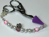Pink Snowman Beaded Scissor Fob Charm Jewelry , accessories - Jill's Beaded Knit Bits, Jill's Beaded Knit Bits  - 4