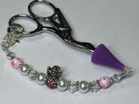 Pink Snowman Beaded Scissor Fob Charm Jewelry , accessories - Jill's Beaded Knit Bits, Jill's Beaded Knit Bits  - 8