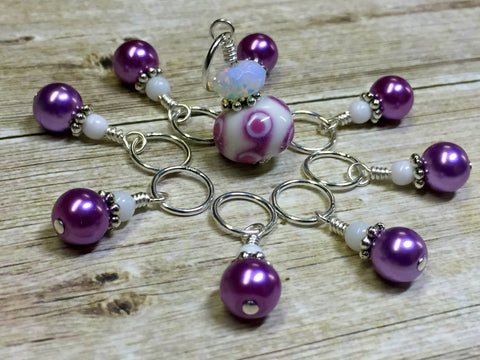 Mauve Swirl Stitch Marker Set- Snag Free Knitting Jewelry