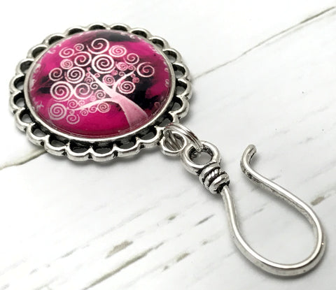 Pink Tree of Life Magnetic Knitting Pin for Portuguese Knitting