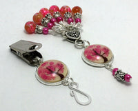Pink Tree Portuguese Knitting Pin & Stitch Marker Gift Set , Portugese Knitting Pin - Jill's Beaded Knit Bits, Jill's Beaded Knit Bits  - 2