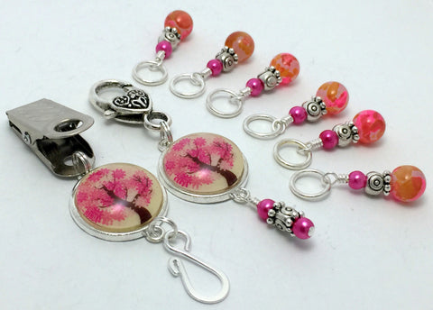 Pink Tree Portuguese Knitting Pin & Stitch Marker Gift Set