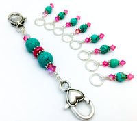 Pink Turquoise Stitch Marker Lanyard Holder Set- Attaches to Your Knitting Bag