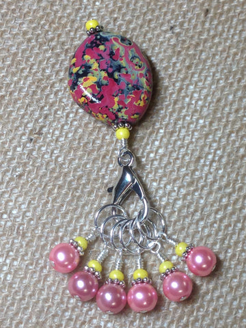 Pink-&-Yellow-Stitch-Marker-Holder-Set , Stitch Markers - Jill's Beaded Knit Bits, Jill's Beaded Knit Bits  - 2