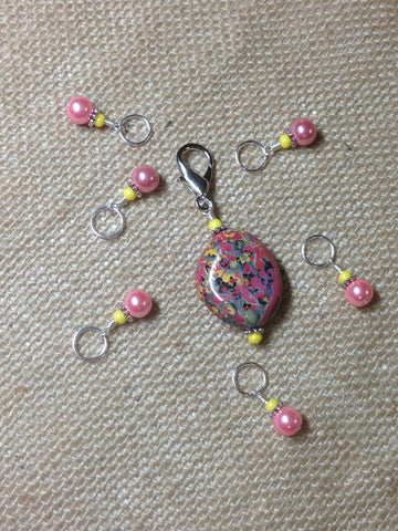 Pink-&-Yellow-Stitch-Marker-Holder-Set , Stitch Markers - Jill's Beaded Knit Bits, Jill's Beaded Knit Bits  - 5