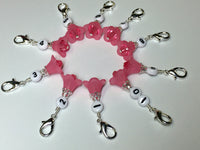 Pink Flower Row Counter Stitch Markers- Set of 10 , Stitch Markers - Jill's Beaded Knit Bits, Jill's Beaded Knit Bits  - 4