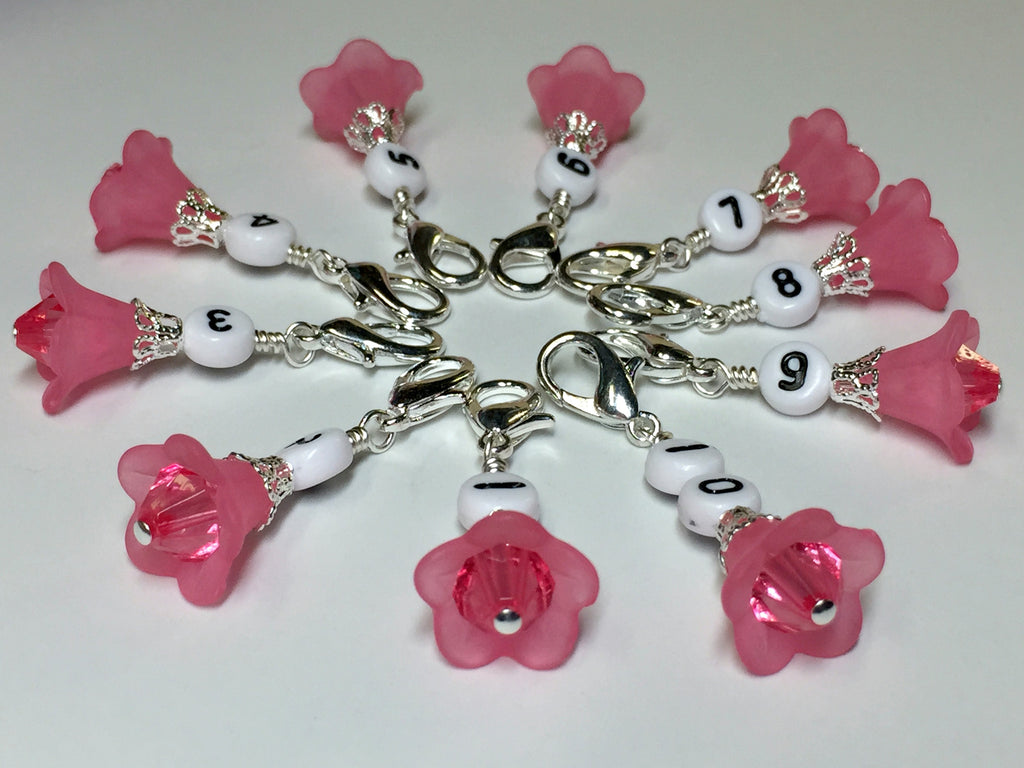 Pink Flower Row Counter Stitch Markers- Set of 10 , Stitch Markers - Jill's Beaded Knit Bits, Jill's Beaded Knit Bits  - 1