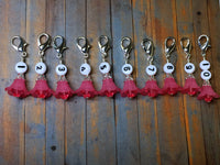 Pink Flower Row Counter Stitch Markers- Set of 10 , Stitch Markers - Jill's Beaded Knit Bits, Jill's Beaded Knit Bits  - 3