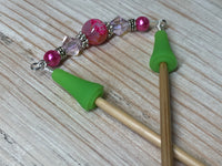 Pink Beaded Point Protector- Stitch Holder , stitch holder - Jill's Beaded Knit Bits, Jill's Beaded Knit Bits  - 6